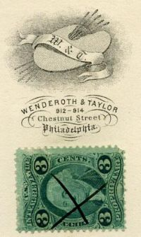 3 cent George Washington Revenue Stamp cancelled with X